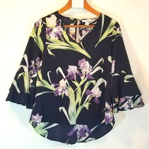 Carolina Belle V neck floral blouse 3/4 Sleeve